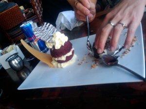 Coconut Sorbet with Red Devil cake
